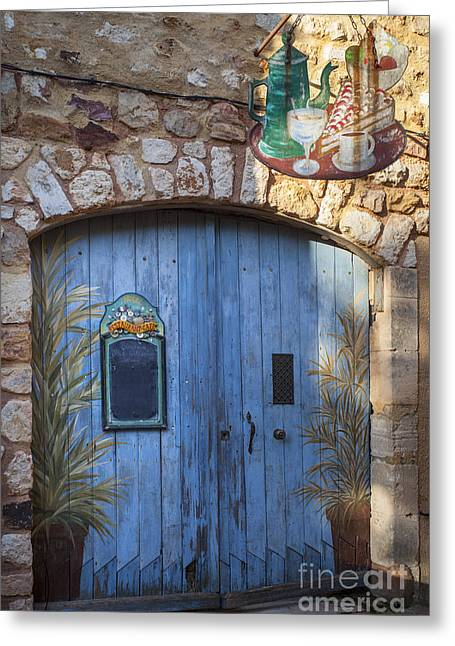Blue Cafe Doors Greeting Card by Brian Jannsen