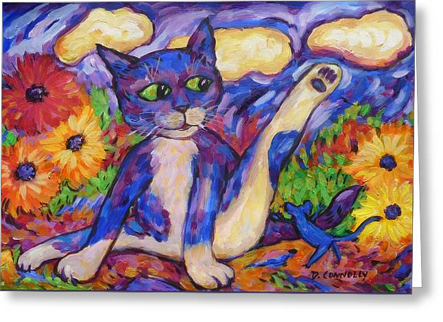 Greeting Card featuring the painting Blue Cat Among Daisies by Dianne  Connolly