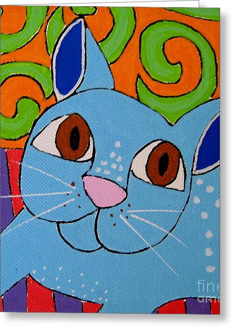 Blue Cat Greeting Card by Susan Sorrell
