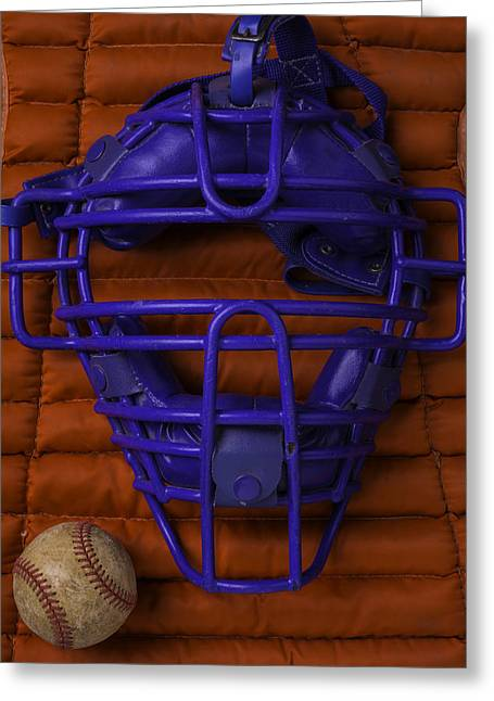 Blue Catchers Mask Greeting Card by Garry Gay