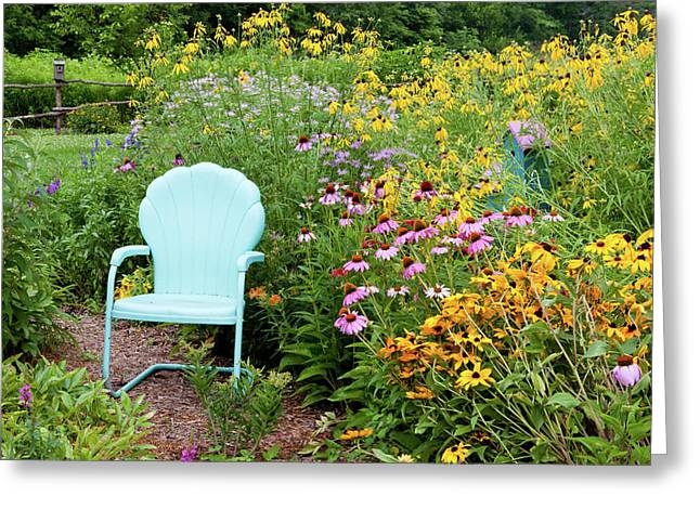Blue Chair And Various Flowers Greeting Card by Panoramic Images