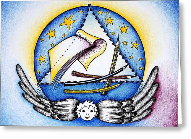 Blue Chakra Mandala Greeting Card by Ida  Novotna