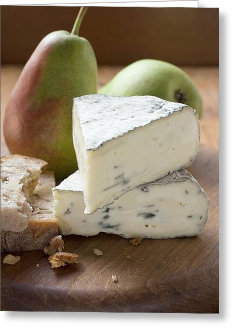Blue Cheese (bresse Bleu, France) Pears, Bread Greeting Card