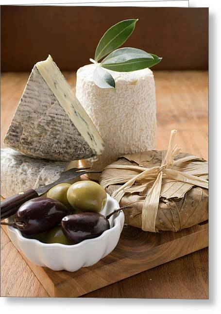 Blue Cheese, Goat's Cheese And Olives Greeting Card