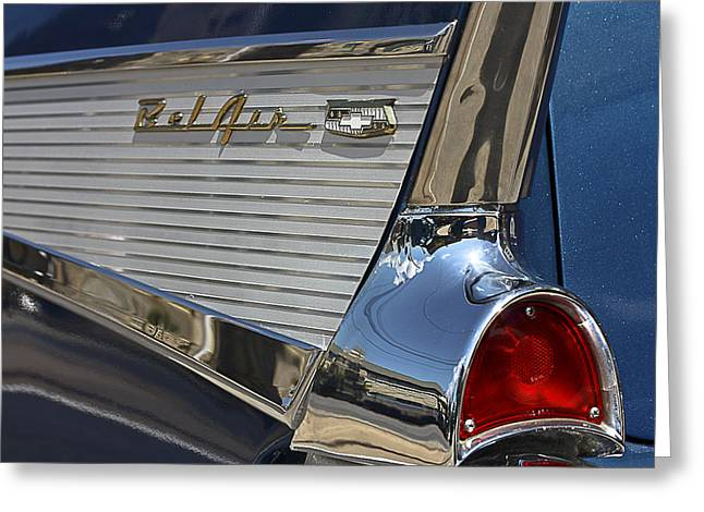 Greeting Card featuring the photograph Blue Chevy Bel Air by Patrice Zinck