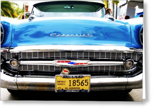 Blue Chevy Greeting Card by Dieter  Lesche