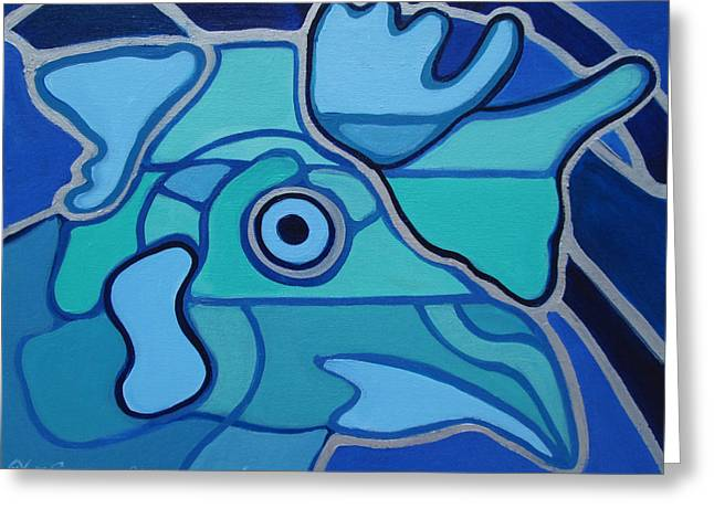 Blue Chicken Abstract Greeting Card
