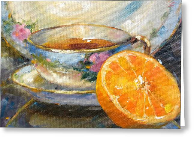 Blue China And Orange Greeting Card