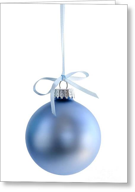 Blue Christmas Bauble Greeting Card by Elena Elisseeva