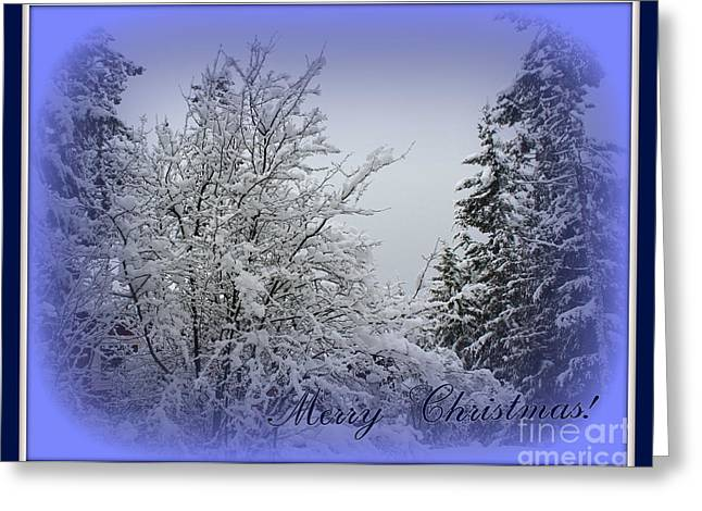 Blue Christmas Greeting Card by Leone Lund