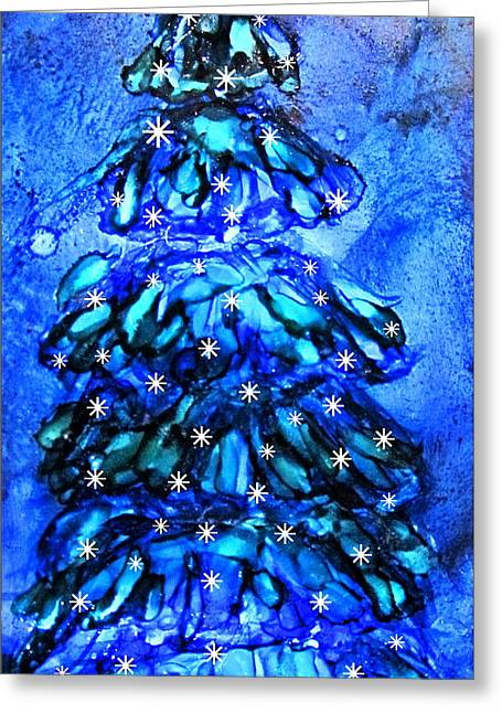 Blue Christmas Tree Alcohol Inks  Greeting Card by Danielle  Parent
