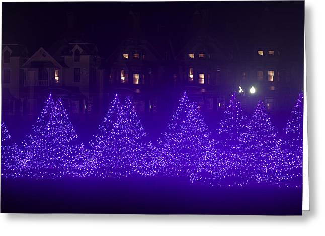 Blue Christmas Tree Forest Greeting Card