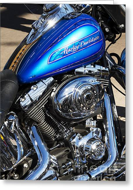 Blue Chromed Harley Greeting Card by Tim Gainey