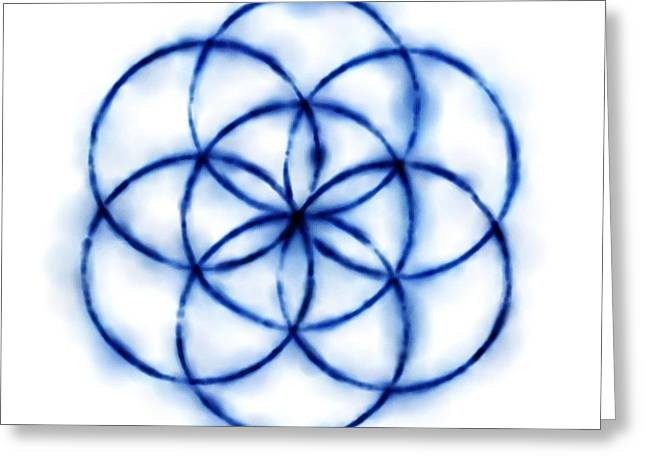 Blue Circle Abstract Greeting Card