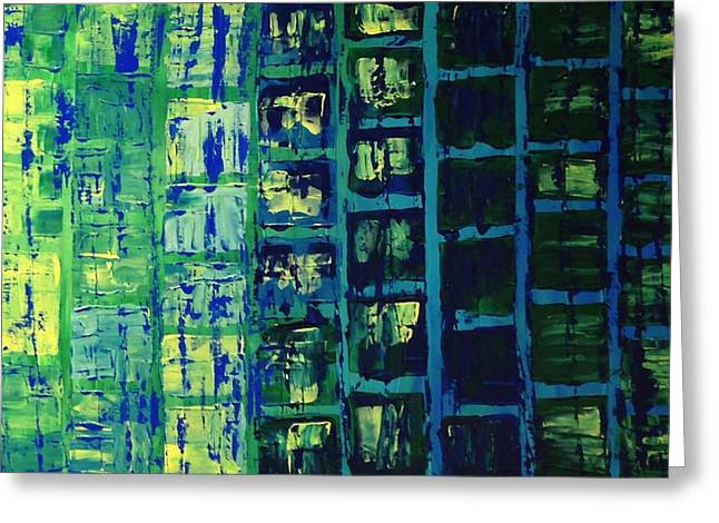 Greeting Card featuring the painting Blue City 2 by Linda Bailey