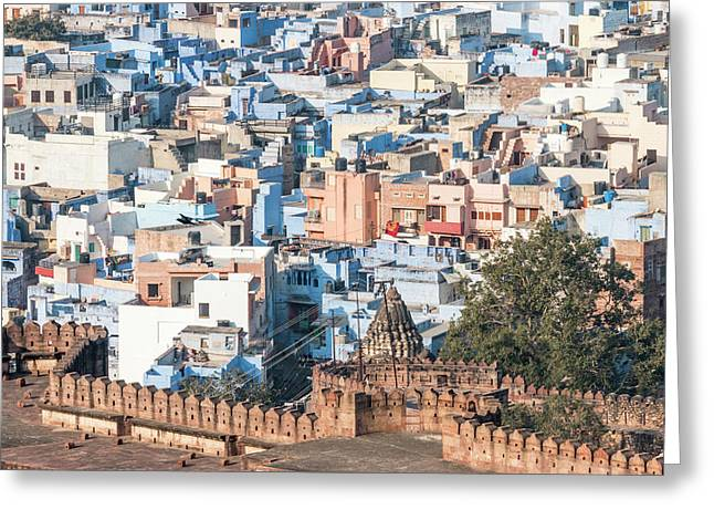 Blue City Seen From Mehrangarh Fort Greeting Card by Tom Norring
