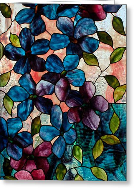 Blue Clematis Greeting Card by David Kennedy