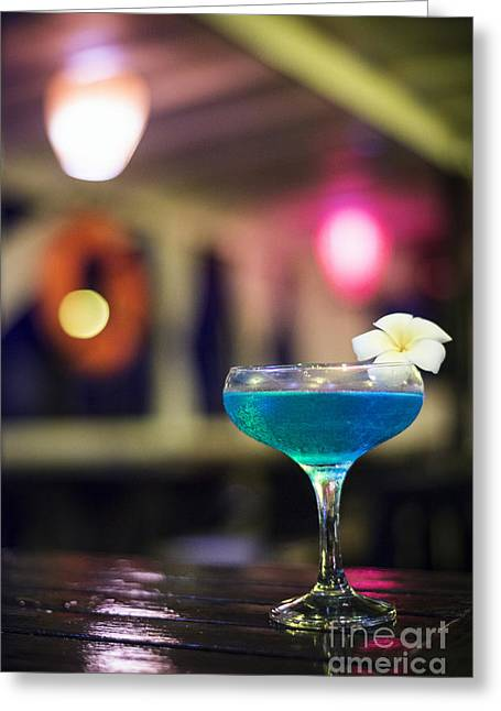 Blue Cocktail Drink In Dark Bar Interior Greeting Card