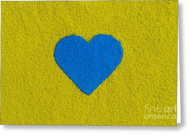Blue Coloured Heart Greeting Card by Tim Gainey