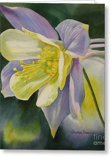 Blue Columbine Blossom Greeting Card by Sharon Freeman