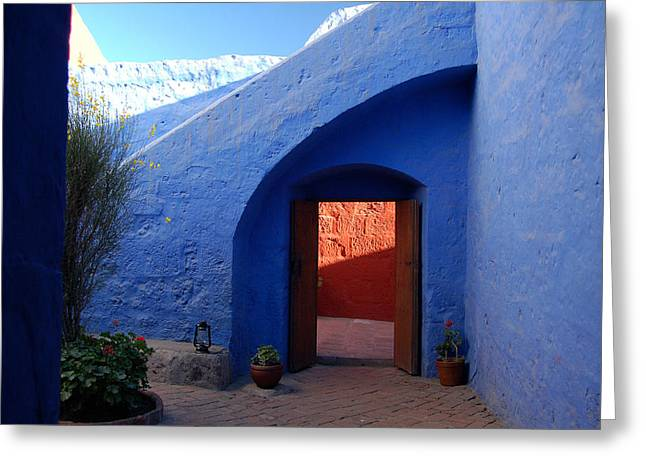 Blue Courtyard Greeting Card
