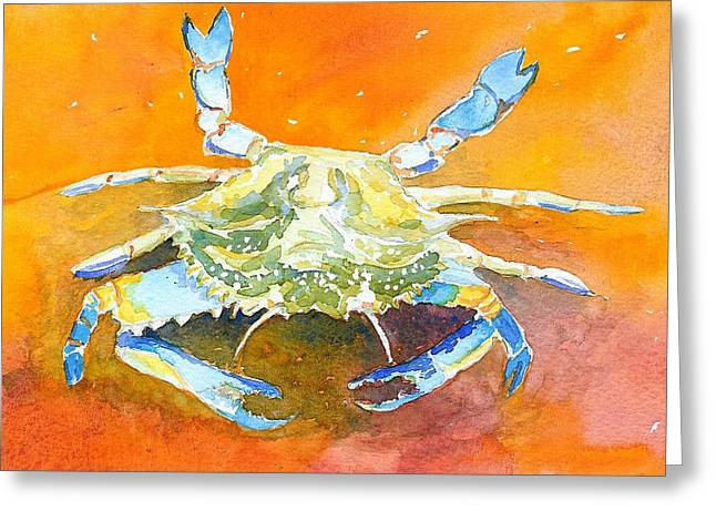 Blue Crab Greeting Card by Anne Marie Brown