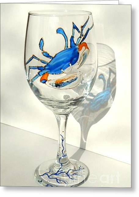Blue Crab On Glass Greeting Card by Pauline Ross