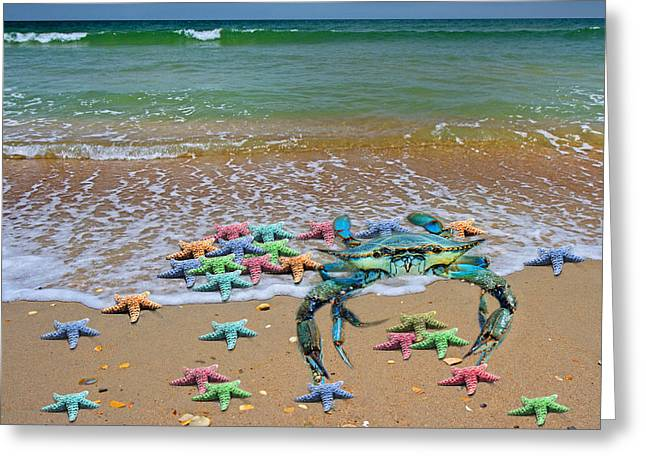 Blue Crab Pastel Paradise Greeting Card by Betsy Knapp