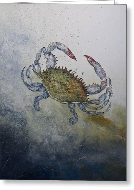 Blue Crab Print Greeting Card by Nancy Gorr