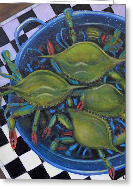 Blue Crabs In Pot Greeting Card by Dwain Ray