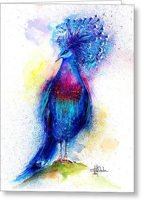 Blue Crowned Pigeon Greeting Card by Isabel Salvador