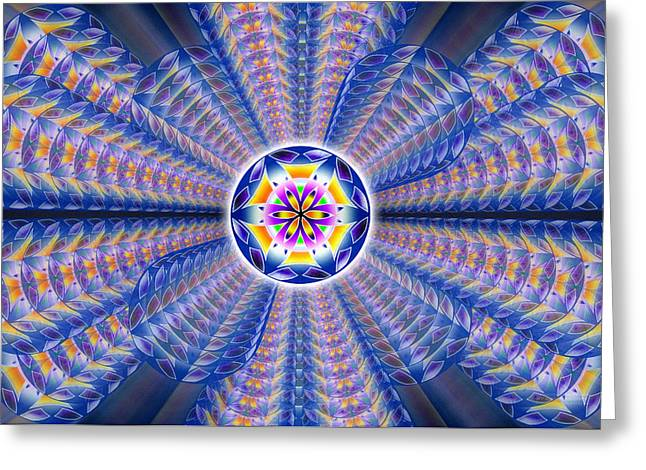 Greeting Card featuring the drawing Blue Crystal Consciousness by Derek Gedney