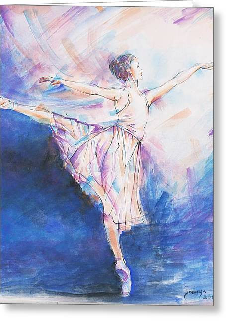 Blue Dance Greeting Card by Jovica Kostic