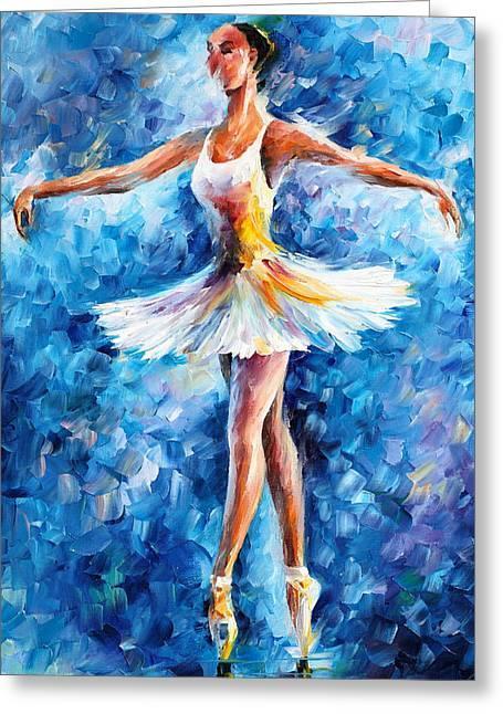 Blue Dance Greeting Card by Leonid Afremov