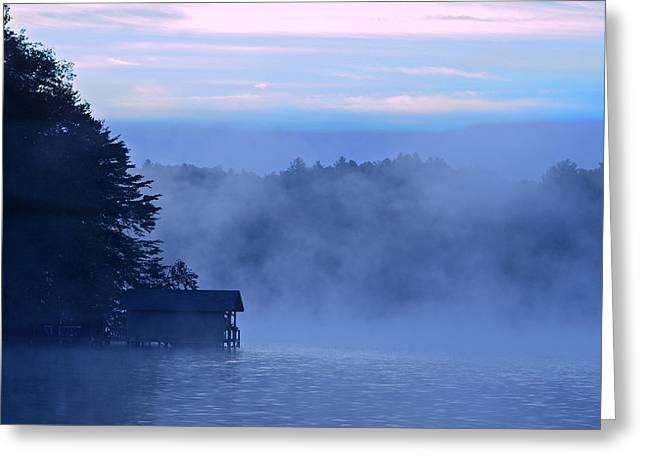 Blue Dawn Mist Greeting Card by Susan Leggett