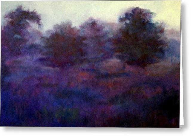 Greeting Card featuring the painting Blue Dawn by Rosemarie Hakim