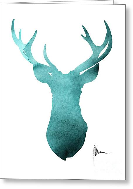 Blue Deer Antlers Watercolor Art Print Painting Greeting Card by Joanna Szmerdt