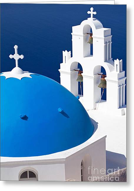 Blue Dome Church Greeting Card by Aiolos Greek Collections