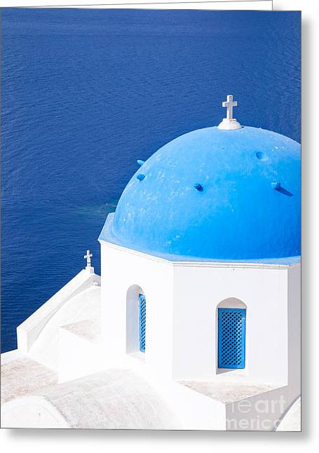 Blue Domed Church In Oia - Santorini - Greece Greeting Card by Matteo Colombo