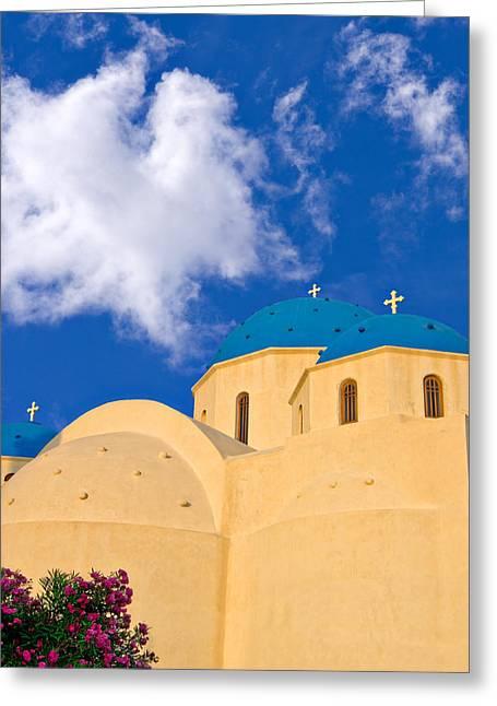 blue domes of Santorini Greeting Card by Meirion Matthias
