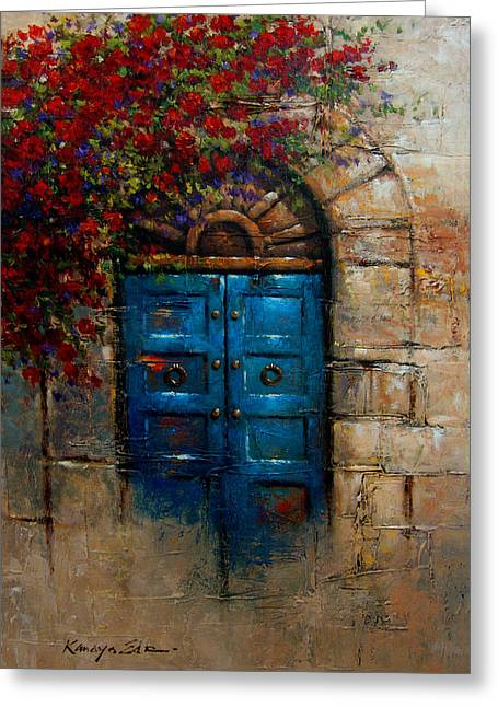 Superbe Blue Door   Italian Door With Rose Bush From Tuscany Print Greeting Card By  Kanayo Ede