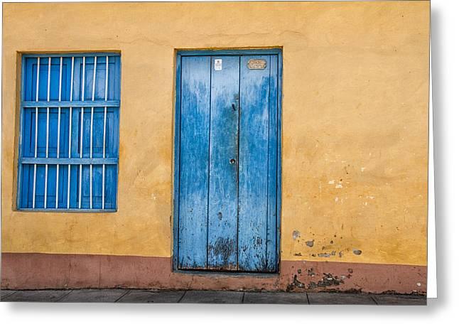 Blue Door And Window Greeting Card