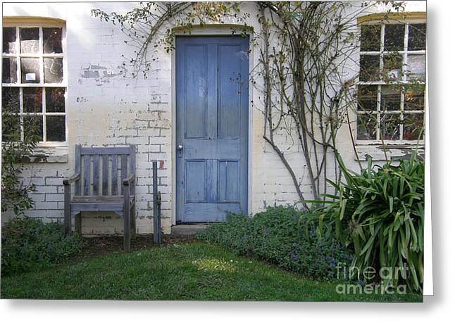 Blue Door Greeting Card by Bev Conover