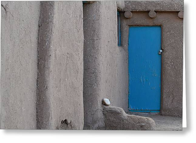 Greeting Card featuring the photograph Blue Door Gray Walls by Nadalyn Larsen