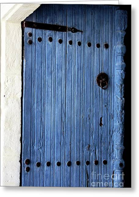 Blue Door In Ayios Neophytos Greeting Card by John Rizzuto