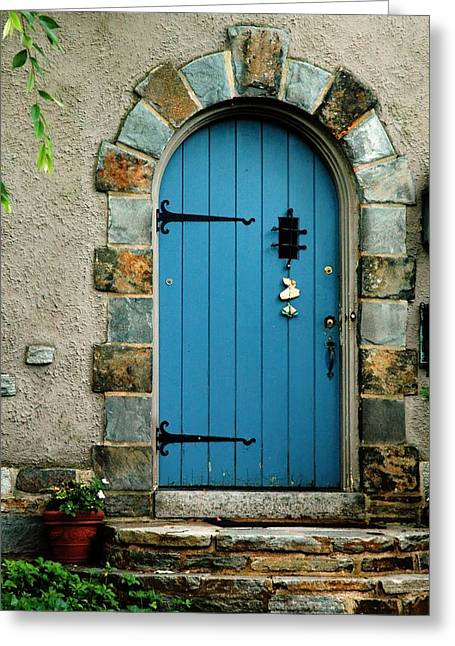 Blue Door In Baltimore Greeting Card by Linda Covino & Blue Door In Baltimore Photograph by Linda Covino pezcame.com