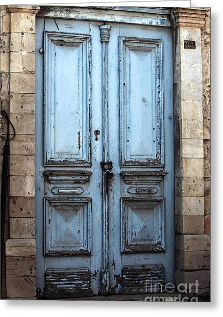 Blue Door In Limassol Greeting Card by John Rizzuto