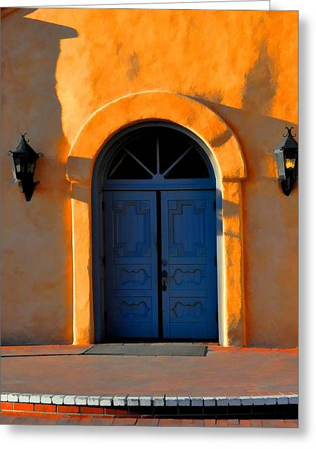 Blue Door In Old Town Greeting Card by Jan Amiss Photography
