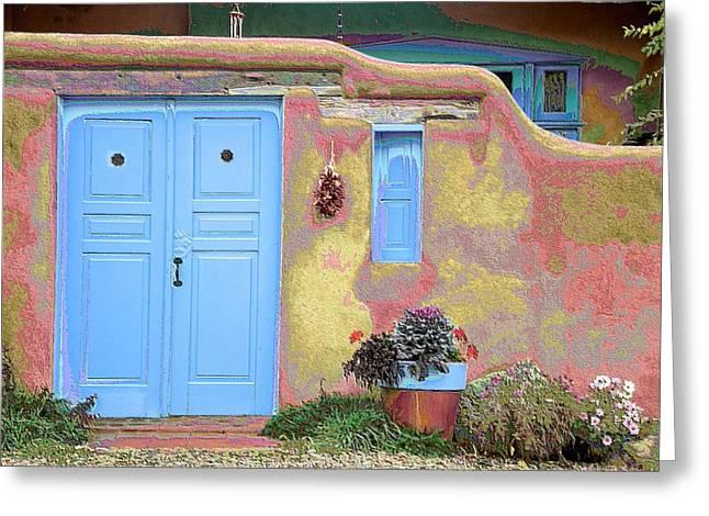 Blue Door In Ranchos Greeting Card