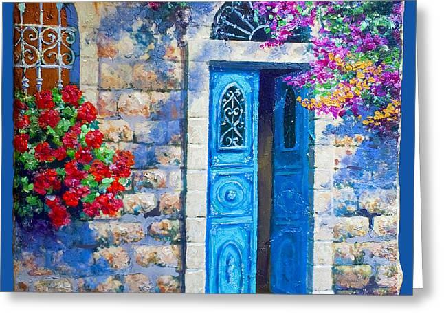 Blue Door Greeting Card by Miki Karni